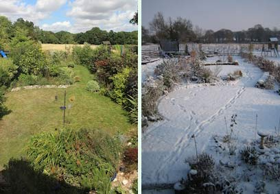 views of a garden in summer and winter